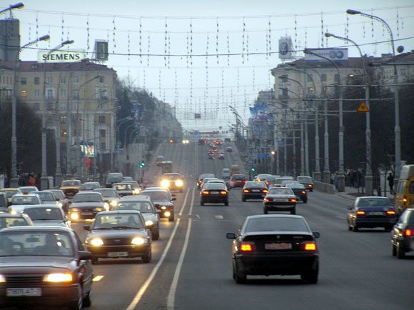 Traffic in Minsk.